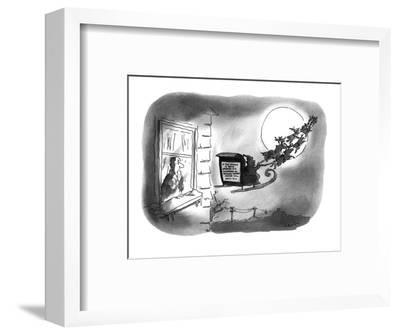 """A man is looking at the sign on the back of Santa's sleigh which reads, """"I? - New Yorker Cartoon-Arnie Levin-Framed Premium Giclee Print"""