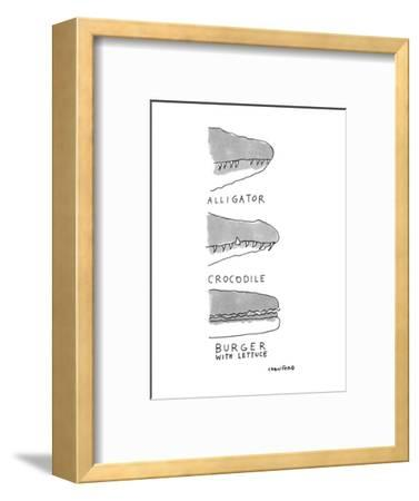Shows the snout of a crocodile, the snout of an alligator, and the side vi? - New Yorker Cartoon-Michael Crawford-Framed Premium Giclee Print