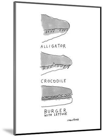Shows the snout of a crocodile, the snout of an alligator, and the side vi? - New Yorker Cartoon-Michael Crawford-Mounted Premium Giclee Print