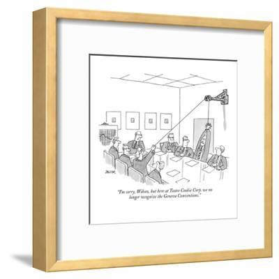 """""""I'm sorry, Wilson, but here at Tastee Cookie Corp. we no longer recognize?"""" - New Yorker Cartoon-Jack Ziegler-Framed Premium Giclee Print"""