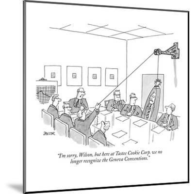 """""""I'm sorry, Wilson, but here at Tastee Cookie Corp. we no longer recognize?"""" - New Yorker Cartoon-Jack Ziegler-Mounted Premium Giclee Print"""