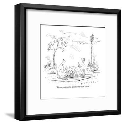 """I'm very domestic.  I bottle my own water."" - New Yorker Cartoon-Barbara Smaller-Framed Premium Giclee Print"