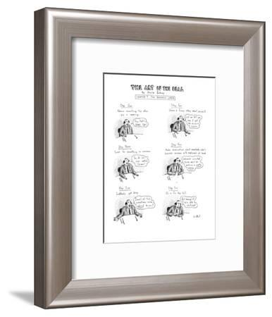 Six panel drawing shows man at business lunch whose six steps include admi? - New Yorker Cartoon-Roz Chast-Framed Premium Giclee Print