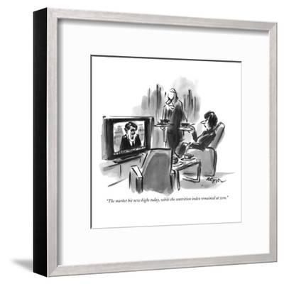 """The market hit new highs today, while the contrition index remained at zero."" - New Yorker Cartoon-Lee Lorenz-Framed Premium Giclee Print"