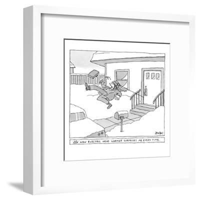 """My new electric head-warmer surprises me every time"" - New Yorker Cartoon-Jack Ziegler-Framed Premium Giclee Print"