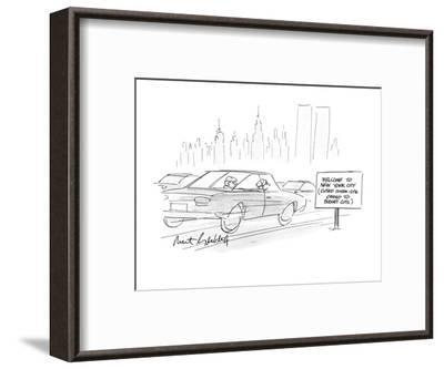 """Cars going by a sign which reads, """"Welcome to New York City (Closed 12noon? - New Yorker Cartoon-Mort Gerberg-Framed Premium Giclee Print"""