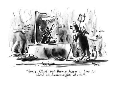 """""""Sorry, Chief, but Bianca Jagger is here to check on human-rights abuses."""" - New Yorker Cartoon-Lee Lorenz-Framed Premium Giclee Print"""