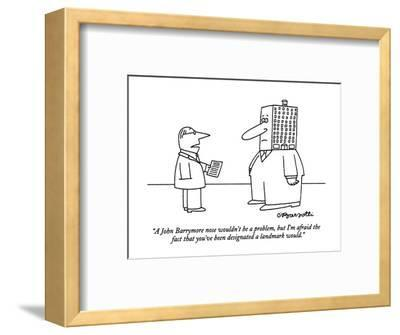 """A John Barrymore nose wouldn't be a problem, but I'm afraid the fact that?"" - New Yorker Cartoon-Charles Barsotti-Framed Premium Giclee Print"
