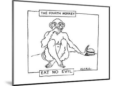 The Fourth Monkey; Eat No Evil - New Yorker Cartoon-Stuart Leeds-Mounted Premium Giclee Print