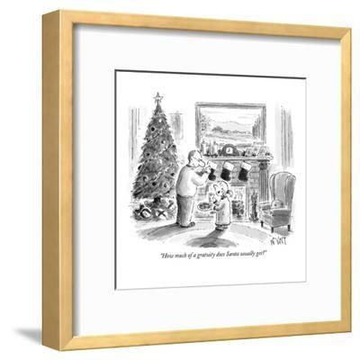 """""""How much of a gratuity does Santa usually get?"""" - New Yorker Cartoon-Christopher Weyant-Framed Premium Giclee Print"""