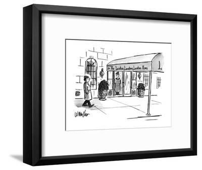 Man walks by a swanky-looking building. The awning reads: The Location, Lo? - New Yorker Cartoon-Warren Miller-Framed Premium Giclee Print