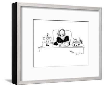 Woman with champagne in her 'in' box, and christmas ornaments in her 'out'? - New Yorker Cartoon-Richard Cline-Framed Premium Giclee Print
