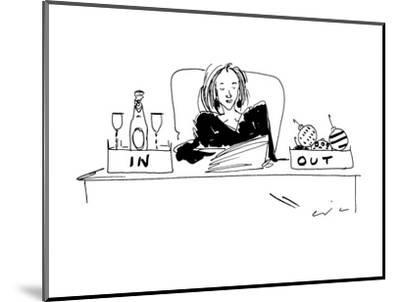Woman with champagne in her 'in' box, and christmas ornaments in her 'out'? - New Yorker Cartoon-Richard Cline-Mounted Premium Giclee Print