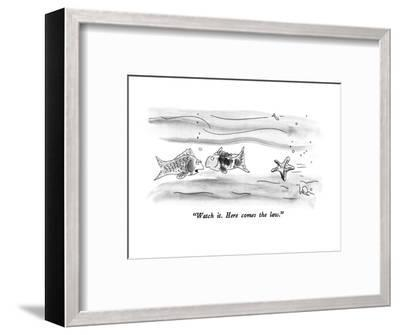 """""""Watch it.  Here comes the law."""" - New Yorker Cartoon-Arnie Levin-Framed Premium Giclee Print"""