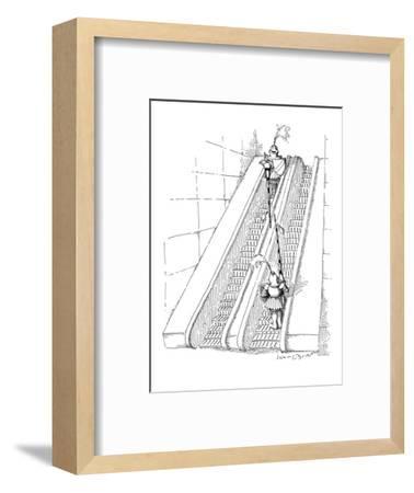 Two knights jousting on opposite escalators. - New Yorker Cartoon-John O'brien-Framed Premium Giclee Print