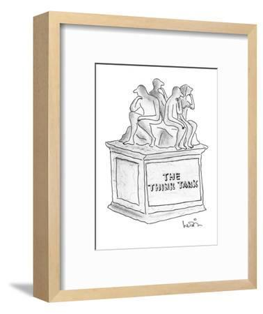 """Statue of several people thinking titled """"The Think Tank."""" - New Yorker Cartoon-Arnie Levin-Framed Premium Giclee Print"""