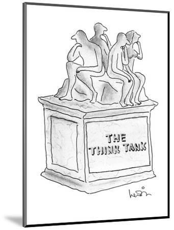 """Statue of several people thinking titled """"The Think Tank."""" - New Yorker Cartoon-Arnie Levin-Mounted Premium Giclee Print"""