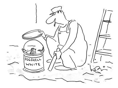 Painter opening a can of 'Eggshell White' uncovers baby bird. - New Yorker Cartoon-Arnie Levin-Framed Premium Giclee Print