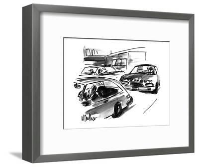Man looking in rearview car mirror sees woman driving behind him who has a? - New Yorker Cartoon-Warren Miller-Framed Premium Giclee Print