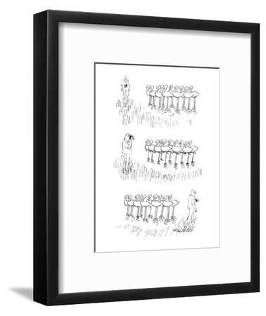 Man taking photograph of flamingoes, they all lift one of their feet. - New Yorker Cartoon-Mischa Richter-Framed Premium Giclee Print