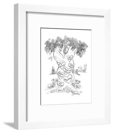 Hearts carved in tree with names of couples from Greek mythology.  There i? - New Yorker Cartoon-Edward Frascino-Framed Premium Giclee Print