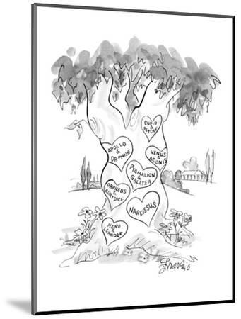 Hearts carved in tree with names of couples from Greek mythology.  There i? - New Yorker Cartoon-Edward Frascino-Mounted Premium Giclee Print