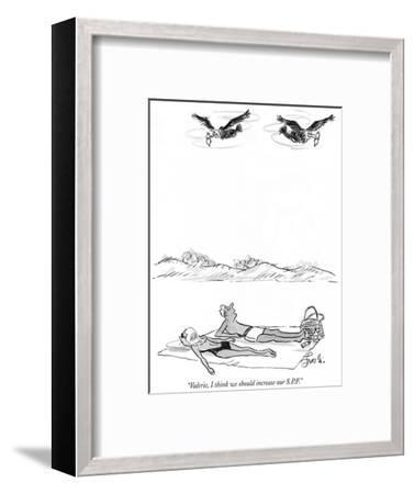"""""""Valerie, I think we should increase our S.P.F."""" - New Yorker Cartoon-Edward Frascino-Framed Premium Giclee Print"""