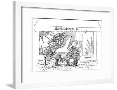 Two police in full riot gear stop at a trashed Starbucks in the wake of th… - New Yorker Cartoon-Jack Ziegler-Framed Premium Giclee Print