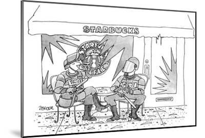 Two police in full riot gear stop at a trashed Starbucks in the wake of th… - New Yorker Cartoon-Jack Ziegler-Mounted Premium Giclee Print