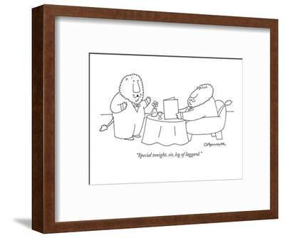 """Special tonight, sir, leg of laggard."" - New Yorker Cartoon-Charles Barsotti-Framed Premium Giclee Print"
