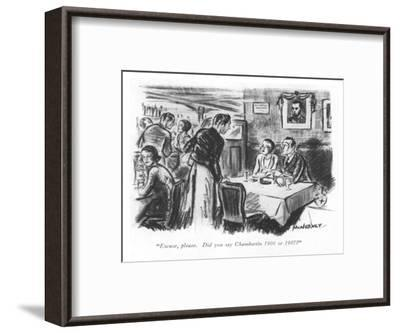 """Excuse, please. Did you say Chambertin 1906 or 1907?"" - New Yorker Cartoon-E. McNerney-Framed Premium Giclee Print"