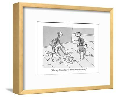 """""""What say this week you be the cat and I'll be the dog?"""" - New Yorker Cartoon-Gahan Wilson-Framed Premium Giclee Print"""