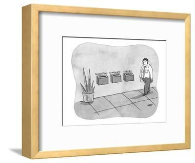 Three different boxes for: 'Suggestions, Complaints, and Issues.' - New Yorker Cartoon-Kim Warp-Framed Premium Giclee Print