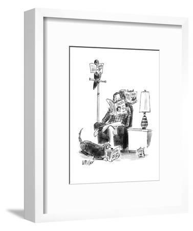 """Man sits reading """"People,"""" bird reads, """"Birds,"""" cat on chair reads, """"Cats.? - New Yorker Cartoon-Warren Miller-Framed Premium Giclee Print"""