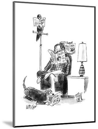 "Man sits reading ""People,"" bird reads, ""Birds,"" cat on chair reads, ""Cats.? - New Yorker Cartoon-Warren Miller-Mounted Premium Giclee Print"