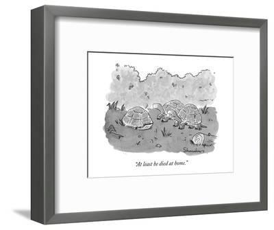 """""""At least he died at home."""" - New Yorker Cartoon-Danny Shanahan-Framed Premium Giclee Print"""