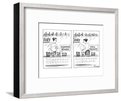 "A bookstore sign in the window ""Summer Reads!"" promoting four books below.? - New Yorker Cartoon-Mike Twohy-Framed Premium Giclee Print"