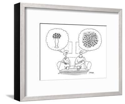 Couple sitting on sofa. Woman has thoughts of roses. Man has thoughts of a? - New Yorker Cartoon-Jack Ziegler-Framed Premium Giclee Print