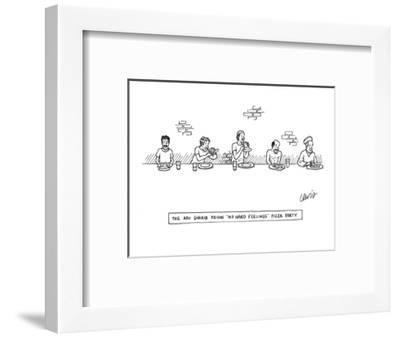 """The Abu-Ghraib Prison 'No Hard Feelings' Pizza Party"" - New Yorker Cartoon-Eric Lewis-Framed Premium Giclee Print"