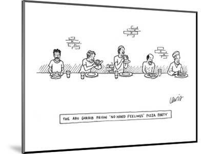 """""""The Abu-Ghraib Prison 'No Hard Feelings' Pizza Party"""" - New Yorker Cartoon-Eric Lewis-Mounted Premium Giclee Print"""