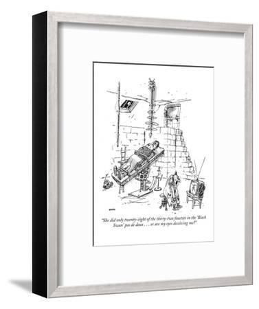 """""""She did only twenty-eight of the thirty-two fouettés in the 'Black Swan' …"""" - New Yorker Cartoon-George Booth-Framed Premium Giclee Print"""