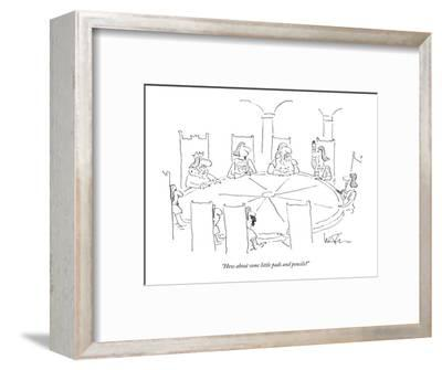 """""""How about some little pads and pencils?"""" - New Yorker Cartoon-Arnie Levin-Framed Premium Giclee Print"""