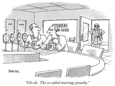 """""""Uh-oh.  The so-called marriage penalty."""" - New Yorker Cartoon-Jack Ziegler-Framed Premium Giclee Print"""