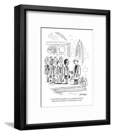 """""""I really liked that stuff you were saying about all of us being sinners a?"""" - New Yorker Cartoon-David Sipress-Framed Premium Giclee Print"""