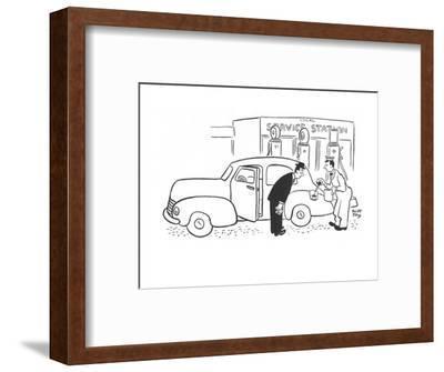 Gas station attendant filling gas tank with eye dropper. - New Yorker Cartoon-Robert J. Day-Framed Premium Giclee Print
