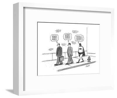 One pedestrian thinking about 'money', followed by another thinking about ? - New Yorker Cartoon-Tom Cheney-Framed Premium Giclee Print