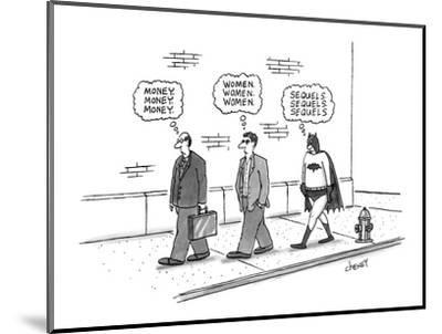 One pedestrian thinking about 'money', followed by another thinking about ? - New Yorker Cartoon-Tom Cheney-Mounted Premium Giclee Print