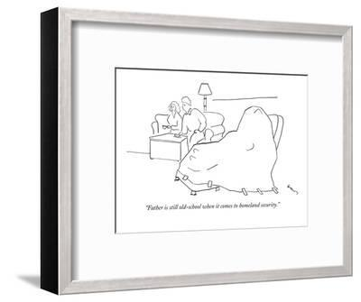 """Father is still old-school when it comes to homeland security."" - New Yorker Cartoon-Michael Shaw-Framed Premium Giclee Print"