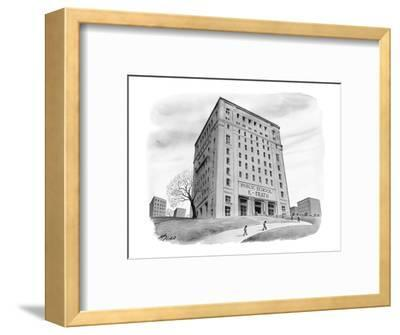 "School buidling with sign: ""Public School 261 K-Death"" - New Yorker Cartoon-Harry Bliss-Framed Premium Giclee Print"