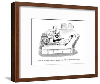 """""""There are no wrong answers?only perceived threats to national security."""" - New Yorker Cartoon-Mike Twohy-Framed Premium Giclee Print"""